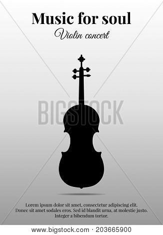 Poster with black silhouette of violin. Vector illustration eps10.