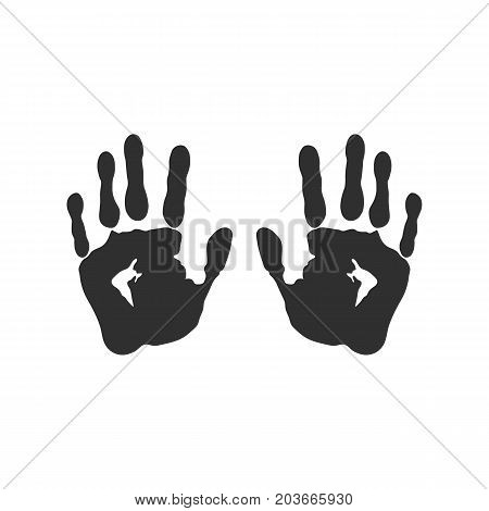 Vector illustration. Print the left and right hands. Black on white background.