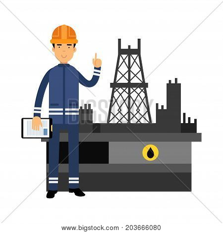 Oilman character in a blue uniform standing next to an oil rig drilling platform showing hand gesture with a raised index finger vector illustration on a white background.