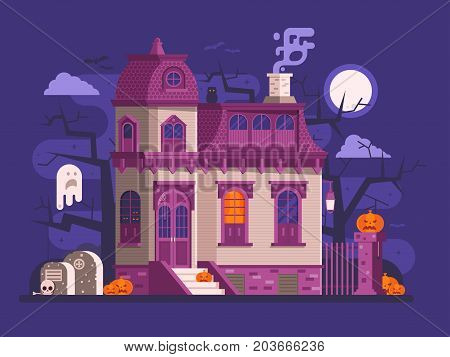 Halloween ghost house scene with victorian haunted mansion entrance, old cemetery, spooks and pumpkins by full moon night. Horror story or scary tale concept vector illustration banner or background.