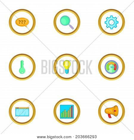 Boost app icons set. Cartoon set of 9 boost app vector icons for web isolated on white background