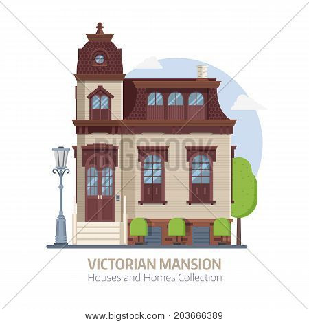 Old mansion building exterior. Classic victorian house or colonial style home with front porch. English manor vector illustration in flat design.