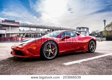 March 2017: Ferrari 458 supercar parked at Circuit de Catalunya in Barcelona Spain