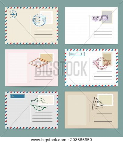 Vintage postcard template set. Vector airmail greeting cards with postmarks and postage stamps
