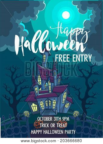 Halloween trick or treat party celebration invitation poster template. Vector design of full moon, haunted house castle and skeleton skulls in scary graveyard forest for October Halloween holiday design