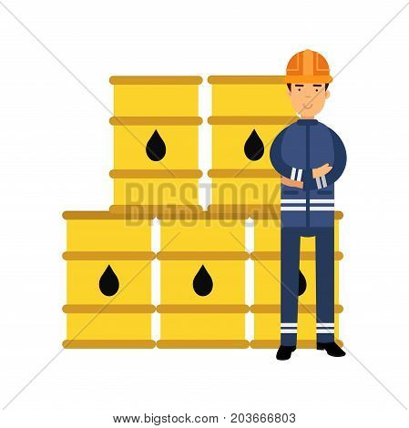 Oilman character in a blue uniform standing next to oil barrels, il industry production vector Illustration on a white background