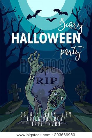 Halloween trick or treat party invitation poster template. Vector design of zombie dead man from grave and RIP cross tomb, full moon scary forest and black bats for October Halloween holiday design