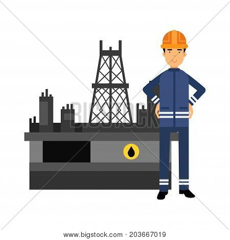 Oilman character in a blue uniform standing next to an oil rig drilling platform, oil industry extraction and refinery production vector Illustration on a white background
