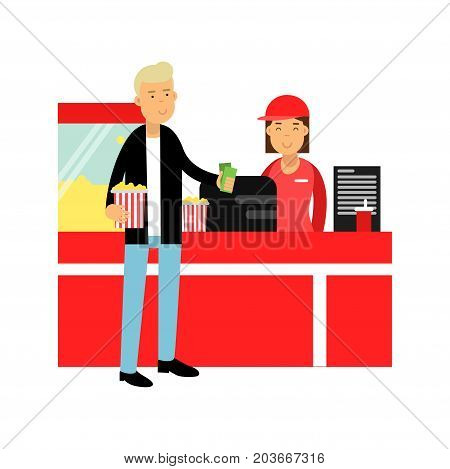 Young man buying popcorn in cinema theatre vector Illustration on a white background