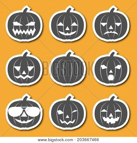 Set Of Icons Carved From Pumpkins Lanterns