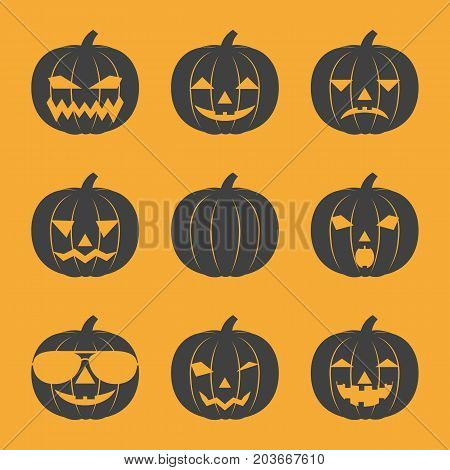 Set of contour cartoon icons of emotional smiling pumpkins and in sunglasses. Design for Halloween. Vector illustration.
