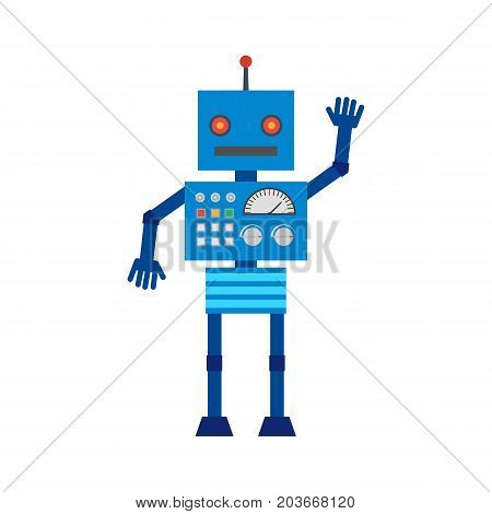 Vector illustration. Mechanical cartoon blue robot with the control panel waving hand. Colorful icon in the flat style.