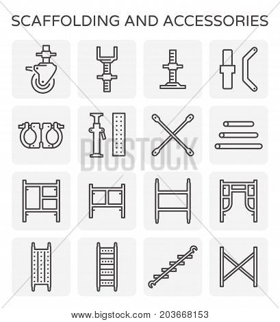 Vector line icon of scaffolding and pipe.