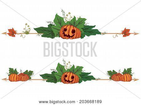 set of autumnal Halloween vector borders with pumpkins (EPS 10)
