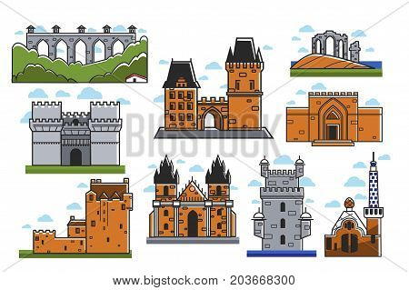 Ancient European castles and towers isolated on white background. Brick medieval solid constructions in elegant gothic and baroque styles. Historical landmarks cartoon vector illustrations set.