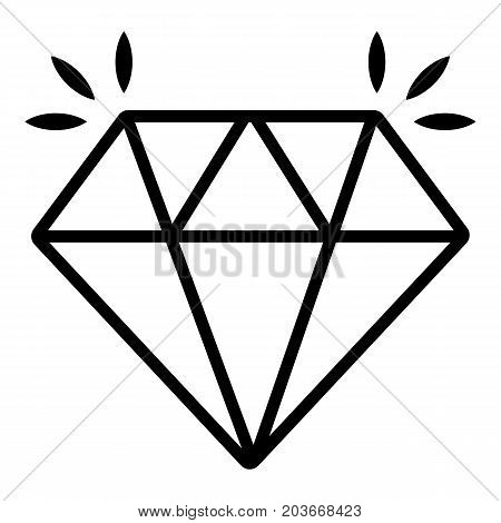 Mine diamond icon. Outline illustration of mine diamond vector icon for web design isolated on white background