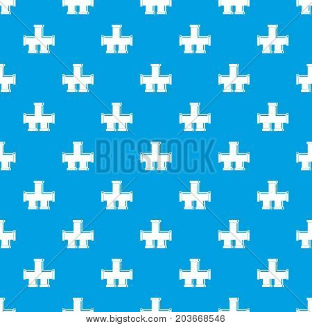 Drain system pattern repeat seamless in blue color for any design. Vector geometric illustration