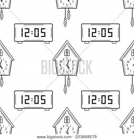 Electronic watch and cuckoo clock. Black and white seamless pattern for coloring books, pages. Vector illustration.