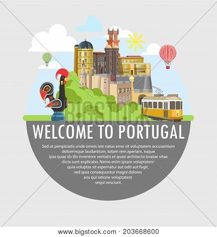 Welcome to Portugal travel or tourism poster of Lisbon famous landmarks and attractions. Vector yellow tram, Portuguese rooster symbol, Porto castle palace or Belem tower