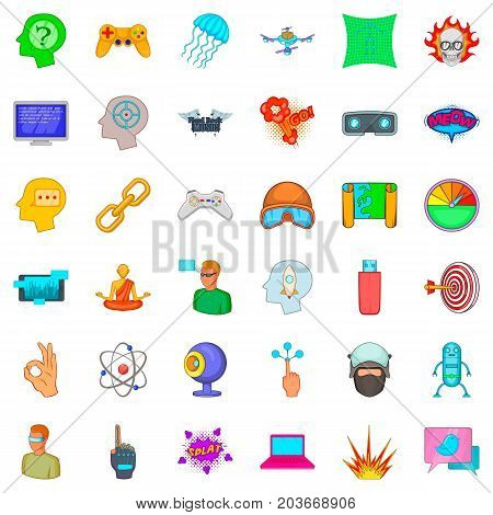 Virtual reality icons set. Cartoon style of 36 virtual reality vector icons for web isolated on white background