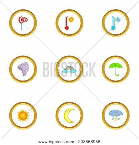 Climate icons set. Cartoon set of 9 climate vector icons for web isolated on white background