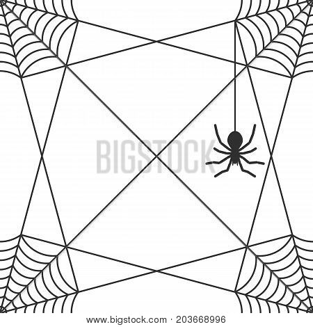 Seamless pattern. A spider hanging on a cobweb. Design for packaging, textiles, banners, invitations to a Halloween party. Background. Vector illustration.