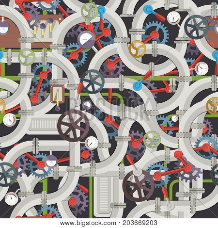 Industrial mechanical seamless pattern with gray metal pipeline valves tubes fittings gears selectors manometers vector illustration