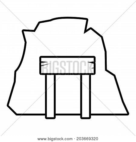 Mine enter icon. Outline illustration of mine enter vector icon for web design isolated on white background