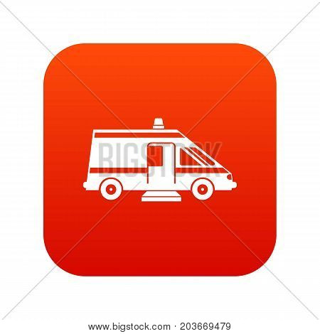 Ambulance icon digital red for any design isolated on white vector illustration