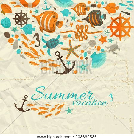 Summer vacation design composition with  nautical decorative cartoon elements on wrinkled paper background flat vector Illustration