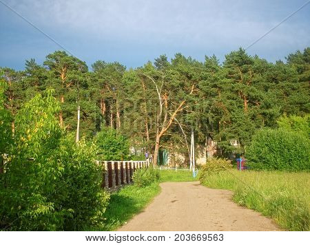 dirty dirt road in the Tula region , Russia