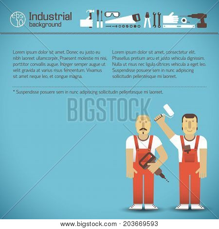 Workers in red overalls and set of icons with industrial tools on blue background vector illustration