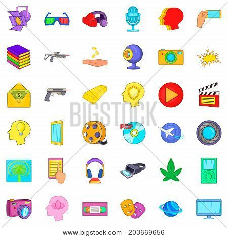 Virtualization icons set. Cartoon style of 36 virtualization vector icons for web isolated on white background
