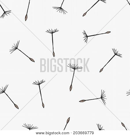 Simple seamless pattern with flying dandelion seeds or achenes on pappuses drawn on white background. Botanical vector illustration with flower parts for fabric print, wallpaper, wrapping paper