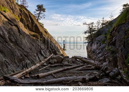Landscape view on the logs laying on the rocky shore between the cliffs. Picture taken in Whytecliff Park West Vancouver British Columbia Canada on a beautiful sunny day.