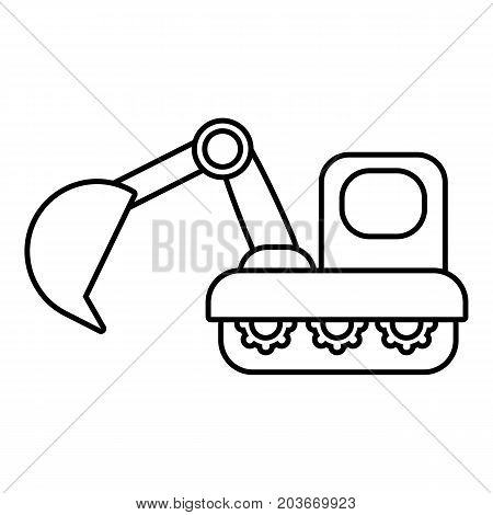 Excavator icon. Outline illustration of excavator vector icon for web design isolated on white background