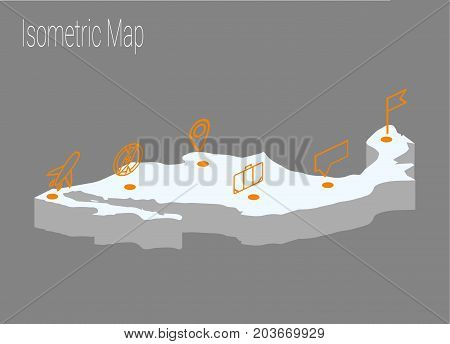 Map Mexico isometric concept. 3d flat illustration of Map Mexico.