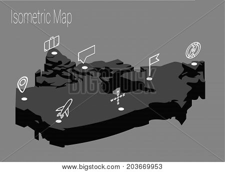 Map Canada isometric concept. 3d flat illustration of Map Canada