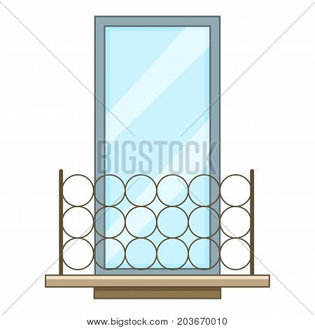 Metal balcony icon. Cartoon illustration of metal balcony vector icon for web