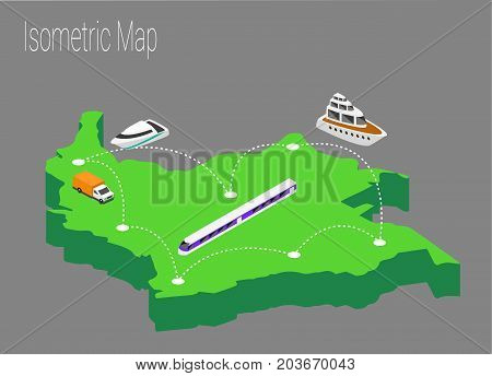 Map Colombia isometric concept. 3d flat illustration of Map Colombia.