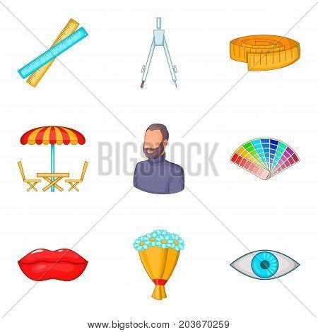 Draftsmanship icons set. Cartoon set of 9 draftsmanship vector icons for web isolated on white background