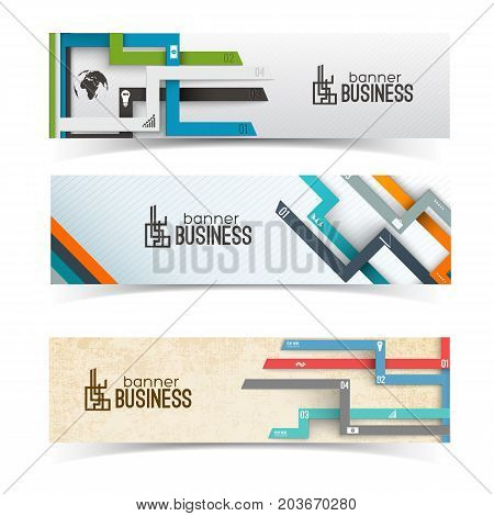 Set of horizontal banners with numbered tabs and business icons on textured light background isolated vector illustration