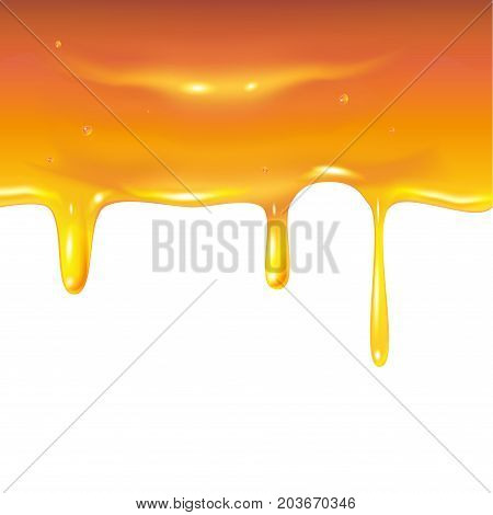 Honey drops border. Honey dripping, sweet drops, white background, honeycomb. Honey texture. Vector illustration