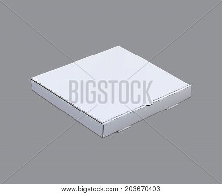Pizza box mock up template isolated on grey background. Vector illustration.