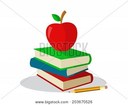 colored books with apple for school illustration