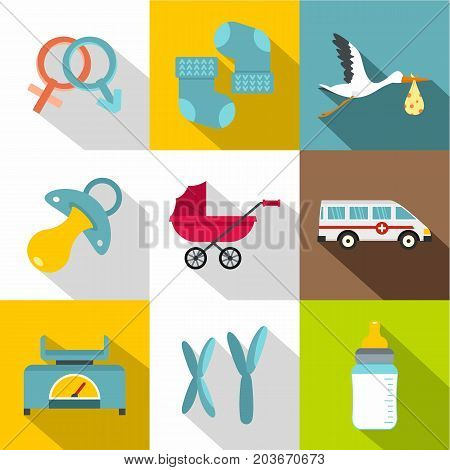 Products for newborns icon set. Flat style set of 9 products for newborns vector icons for web design