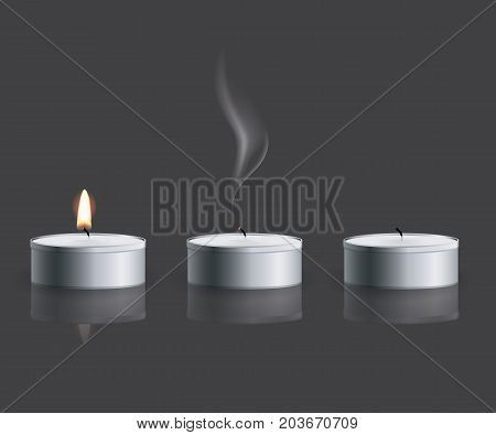 Realistic tea candle with fire, extinguished candle with smog and the candle end isolated on grey background. Vector.