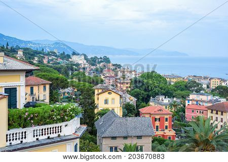 Beautiful sunset view to Santa Margherita Ligure city and sea in Italy