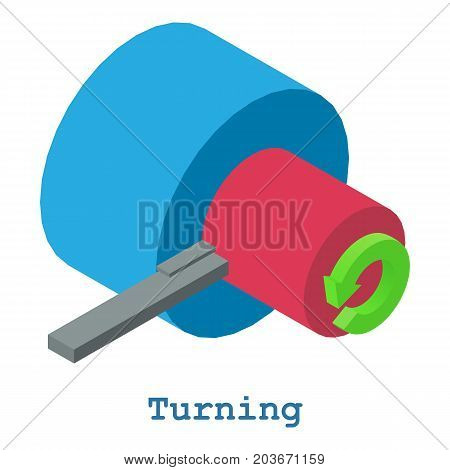Turning metalwork icon. Isometric illustration of turning metalwork vector icon for web
