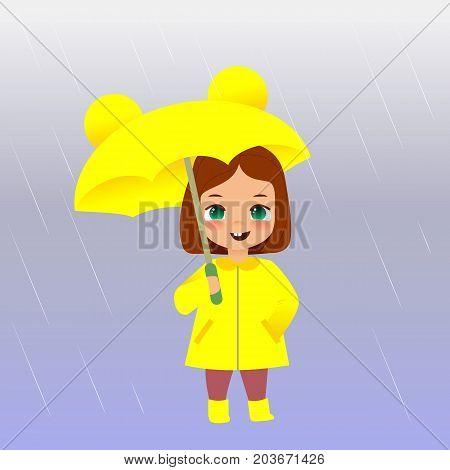 Cute girl in raincoat holding umbrella under the rain. Cartoon style vector illustration.